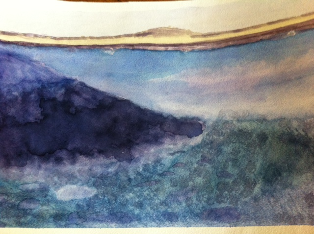 watercolor seascape, 13 year old artist