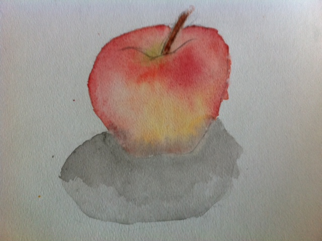 watercolor, apple, watercolor painting of apple