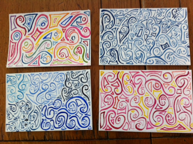 abstract postcards, abstract watercolor patterns on postcards
