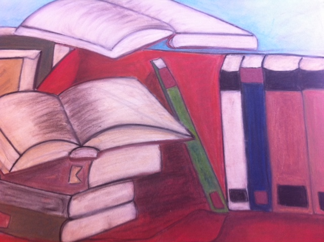 book still life, pastel and charcoal book still life