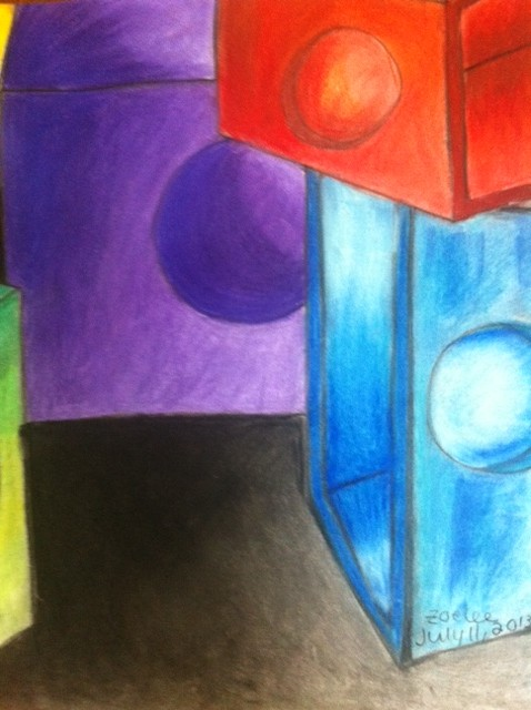 legos, pastel on paper, zoe lee artist, 13 year old artist, young artists, young artist