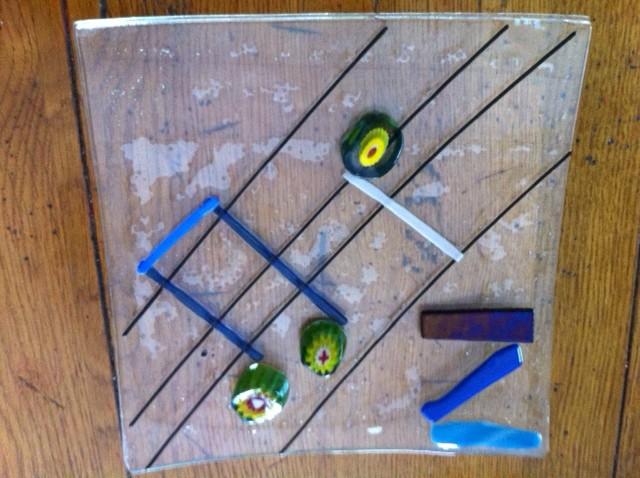 fused glass music platter, fused glass music plate, hot glass art camp