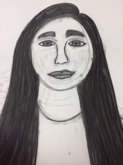 self portrait, student self portrait, 8th grade self portrait