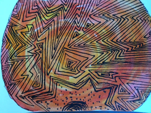 watercolor mandala orange, 8th grade art