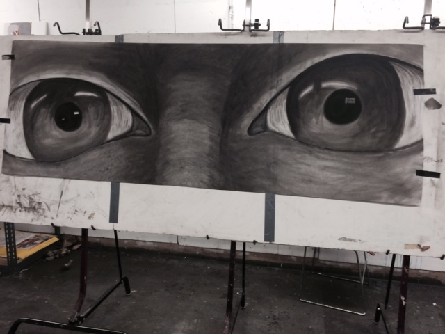 large scale drawing of eyes