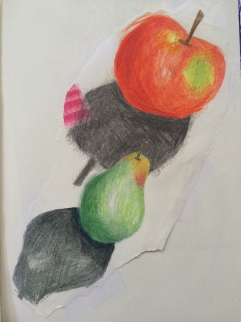 fruit colored pencil drawing