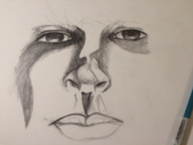 pencil drawing face rendering work in progress