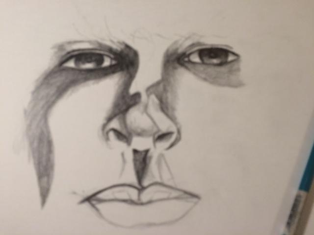 pencil drawing face rendering work in progress