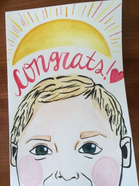 New Baby Handmade Watercolor Greeting Card