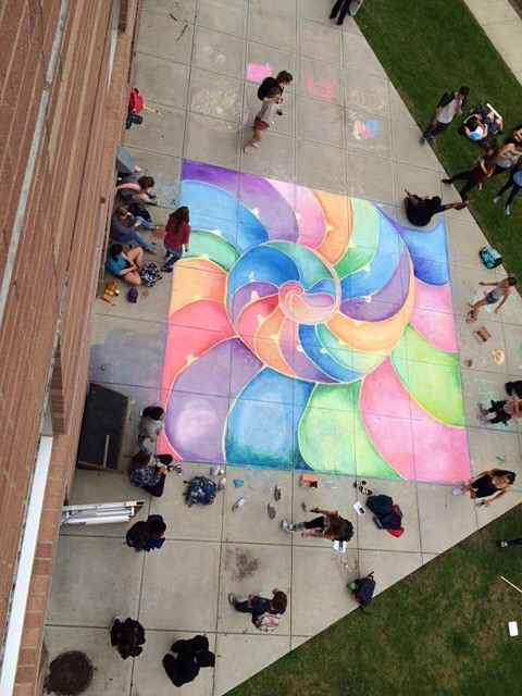 Georgia O'Keefe Sidewalk Chalk Public Art at Newton North High School